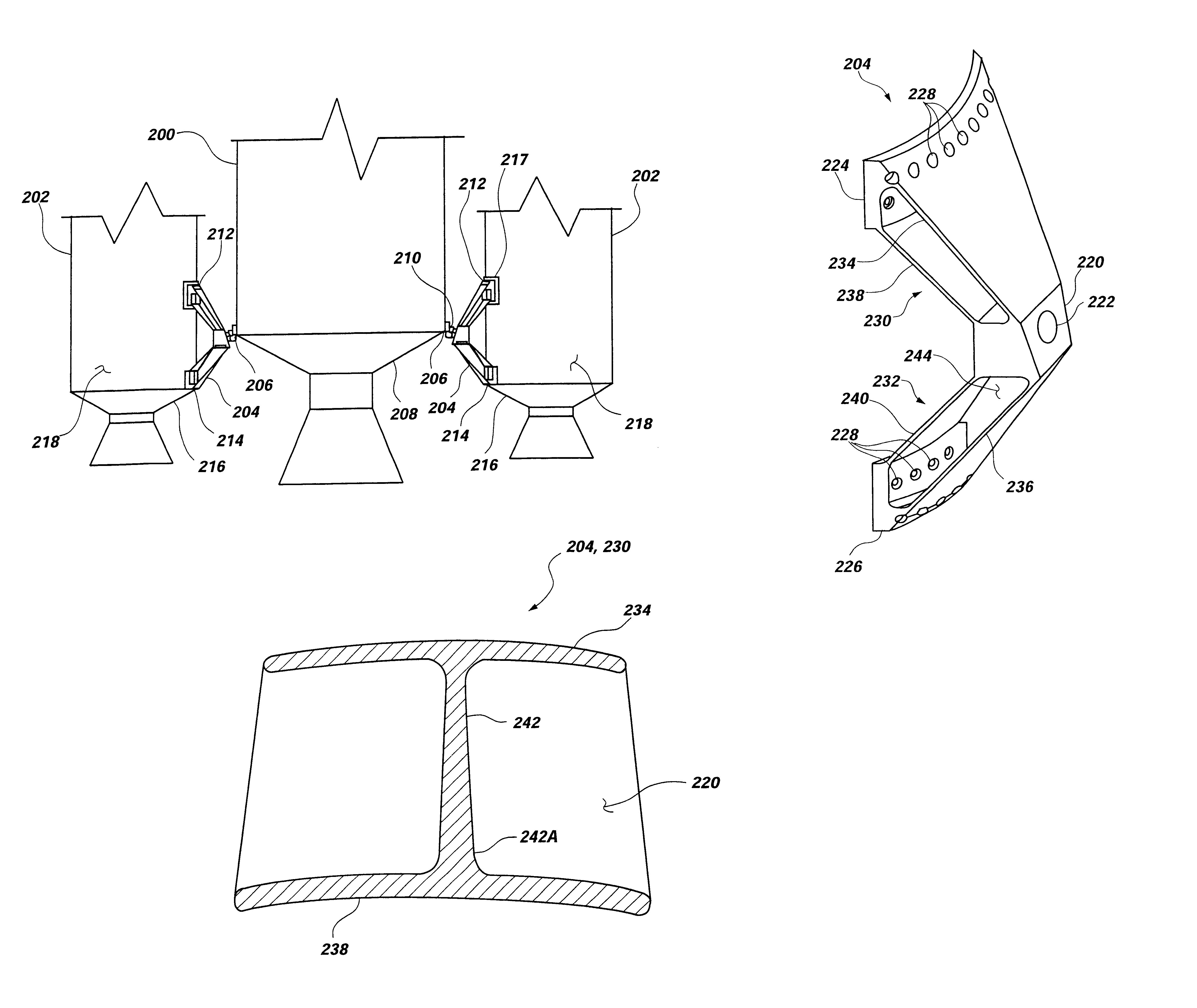 apparatus for load transfer between aerospace vehicle components, aerospace  vehicles including same,